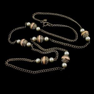 J. Crew Sweater Necklace Pearls + Rhinestone Beads